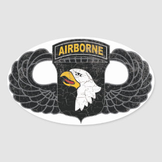 "101st Airborne Division ""Screaming Eagles"" RUSTIC Oval Sticker"