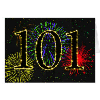 101st Birthday card with fireworks