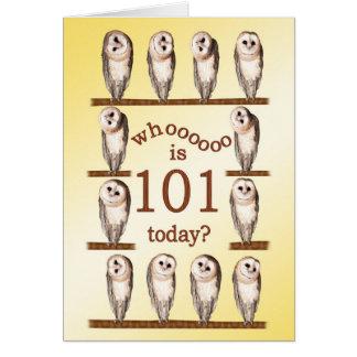 101st birthday, Curious owls card. Card