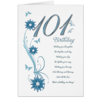 101st birthday in teal with flowers greeting card