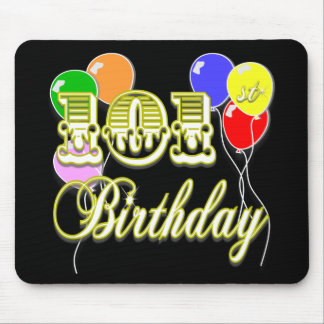 101st Birthday with Balloons Mouse Pad