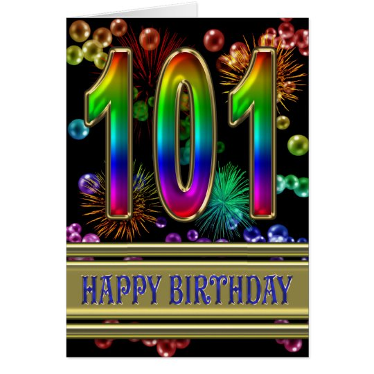 101st Birthday with rainbow bubbles and fireworks Card