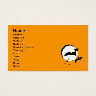 10262006 BLACK BATS FLYING SLIVER MOON NIGHT DARK BUSINESS CARD