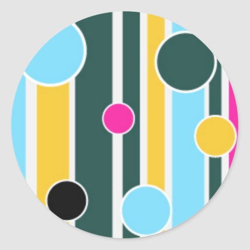 102 COLORFUL STRIPES CIRCLES PATTERNS FUN PARTY GR ROUND STICKERS