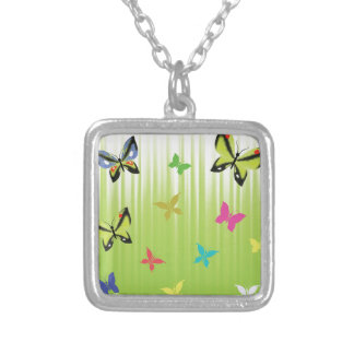 102Green  Background _rasterized Silver Plated Necklace