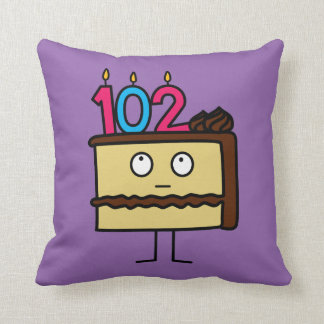 102nd Birthday Cake with Candles Cushion