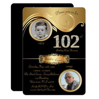 102nd,Birthday Man 102nd,elegant art deco,black Card