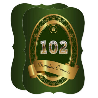 102nd,birthday party woman man,emerald green card