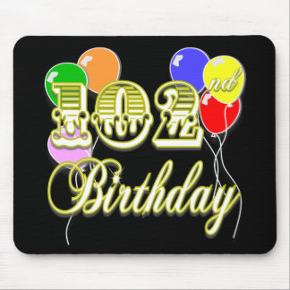 102nd Birthday with Balloons Mousepads