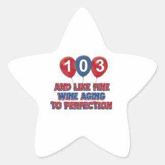 103rd birthday designs star sticker