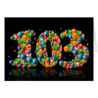 103rd birthday with numbers formed from balls card