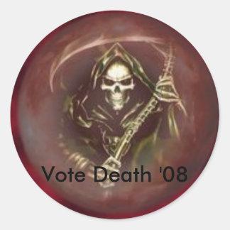 1048744758a1048776828b871114813ml, Vote Death '08 Classic Round Sticker