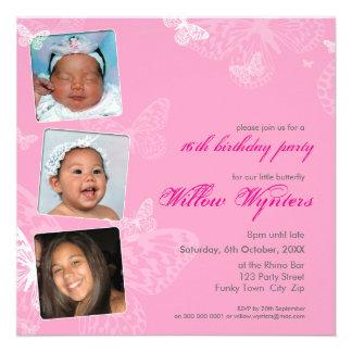 105 - PHOTO BIRTHDAY INVITES butterflies 1SQ