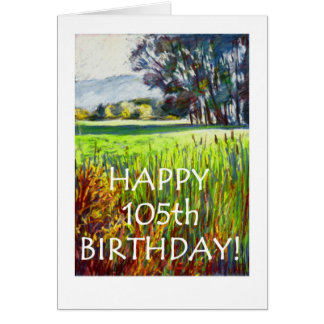 105th Birthday Card - Evening in the Meadows