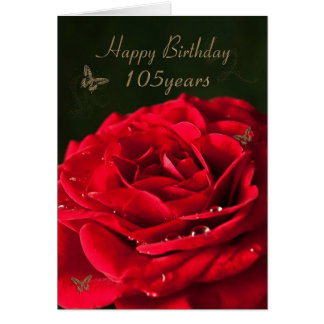 105th Birthday Card with a classic red rose