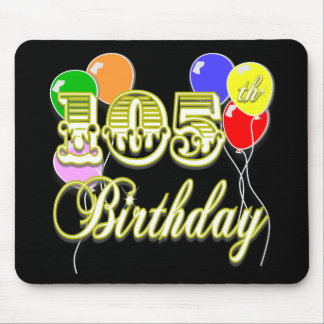 105th Birthday with Balloons Mousepad