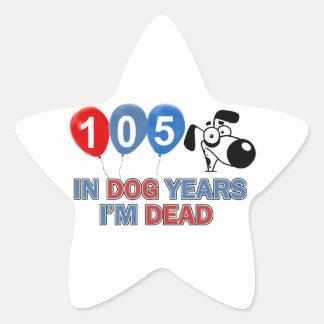 105th year old birthday designs star sticker
