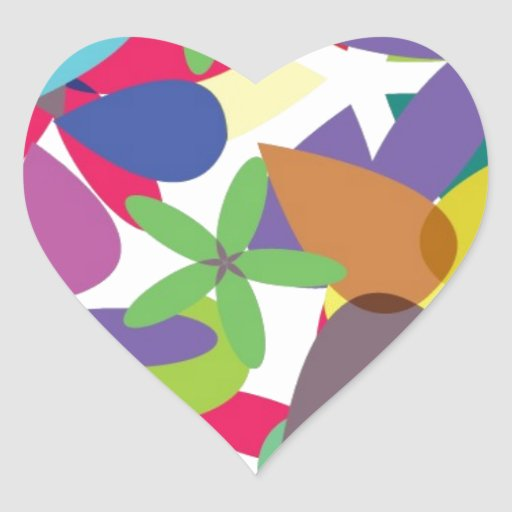 106 COLORFUL VECTOR FLOWERS COLLAGE GRAPHICS TEMPL HEART STICKER