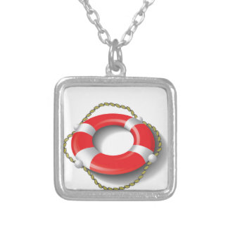 107Lifebuoy _rasterized Silver Plated Necklace