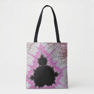 108-08 black mandy in a metallic pink field tote bag