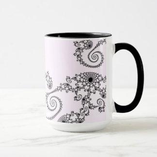 108-26 black lace on pale pink mug