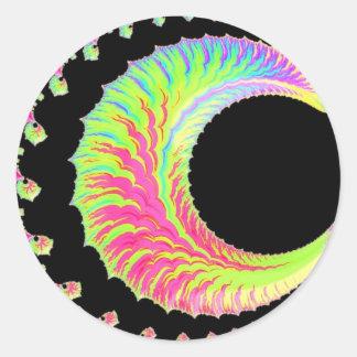 108-46 rainbow crescent moon classic round sticker