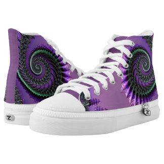 108-77 purple & green metallic spiral high tops