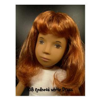 108 Redhead white Dress postcard