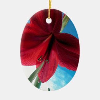 108a Vivid red Amaryllis Flower Ceramic Ornament