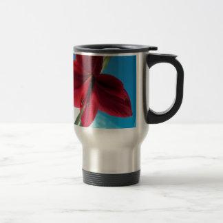 108a Vivid red Amaryllis Flower Travel Mug