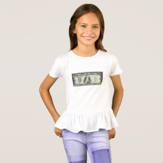 $10,000 Spaniel Note Girl's Ruffle T-Shirt