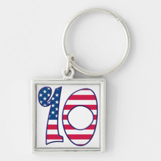 10 Age USA Silver-Colored Square Key Ring