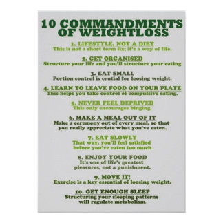 10 Commandments Of Weight Loss - Infographic Print