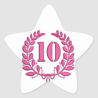 10 congratulation imitation of embroidery star sticker