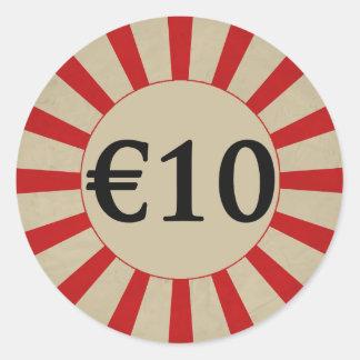 €10 (Euro) Round Glossy Price Tag Round Sticker