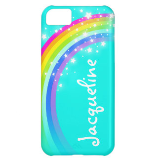 10 letter name rainbow aqua iphone case
