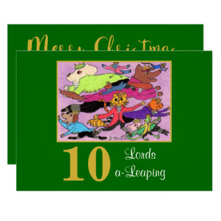 10 Lords a Leaping Cute Animals Custom Christmas Card
