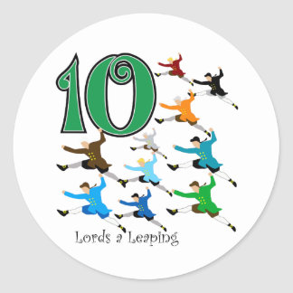 10 Lords Leaping Classic Round Sticker