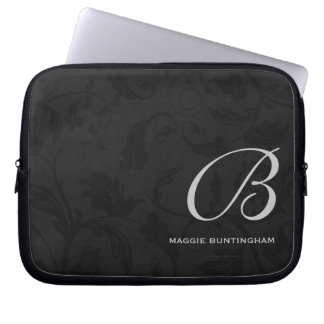 "10"" Monogrammed Black Damask Laptop Sleeve"
