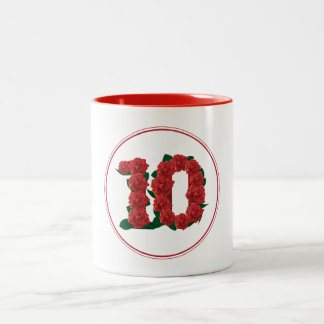 10 Number 10th Birthday Anniversary red mug