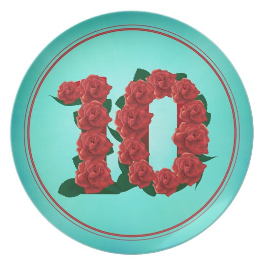 10 number birthday anniversary 10th roses plate