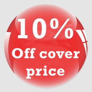 10% (Percent) Off Cover Price Round Glossy Sticker