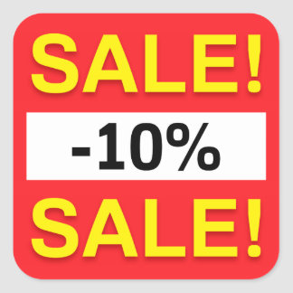 10 percent sale discount stickers