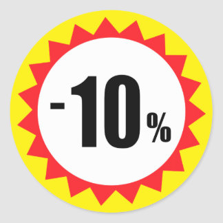 10 percent sale discount stickers red white yellow
