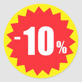 10 percent sale discount stickers, yellow and red