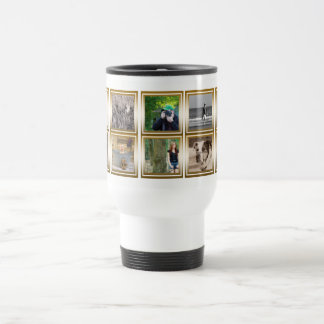 10 Photo Collage | Custom Instagram Gold Metallic Travel Mug