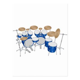 10 Piece Drum Kit: Vector Drawing: Postcard