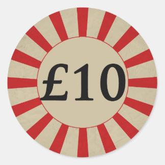 £10 (Pound) Round Glossy Price Tag Round Sticker