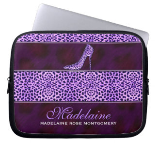 "10"" Purple Cheetah Print Personalized Laptop Case Computer Sleeve"