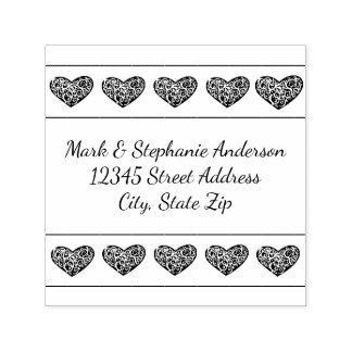 10 Swirly Hearts - Square Self Inking Stamp
